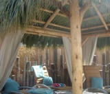 inside picture of the roof for a tiki hut